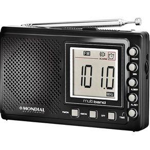 Rádio Portátil com 10 Faixas, AM/FM, Relógio e Alarme Mondial Multi Band RP-03