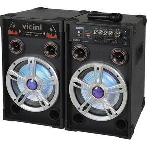 Conjunto 2 Caixas Amplificadas Vicini 120WRMS VC-7120B - Preto
