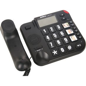 Telefone com Identificador Viva Voz Teclas Grandes Tok Fácil ID Intelbras - Preto