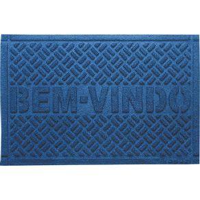 Capacho 39x59cm Agulhado Bem-Vindo Kapazi Azul Marinho