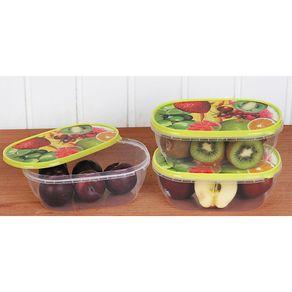 Conjunto 3 Potes Oval Decorado PO22 Frutas São Bernardo Sortido
