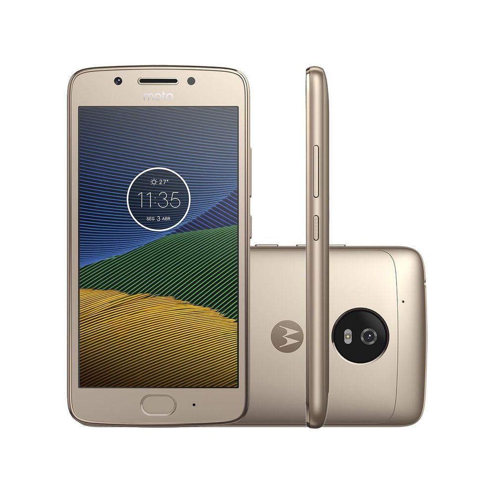Celular Smartphone Motorola Moto G5 Xt1672 32gb Dourado - Dual Chip