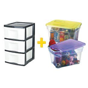 Kit Organização 1 Gaveteiro + 1 Caixa para Organização