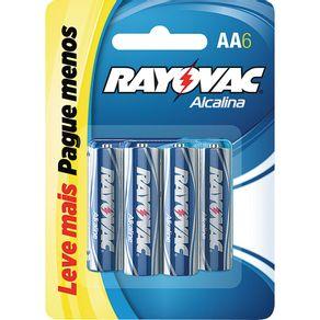 Pilha Palito Alcalina com 6 Unidades Rayovac Leve + Pague -