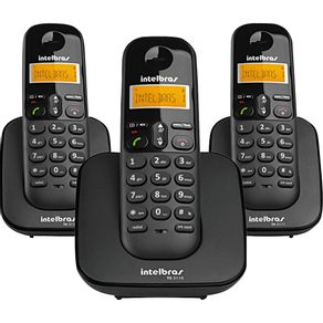 Telefone sem Fio com Identificador e 2 Ramais Intelbras TS3113 - Preto