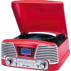 Toca Disco Harmony com CD, Entradas USB, SD e Auxiliar, FM, 10WRMS, Grava e Reproduz Raveo Vermelha