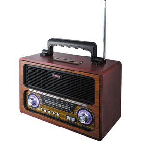 Rádio Portátil TRC AM/FM, Bluetooth, Controle Remoto, Entradas USB, SD e Auxiliar Retrô TRC-213