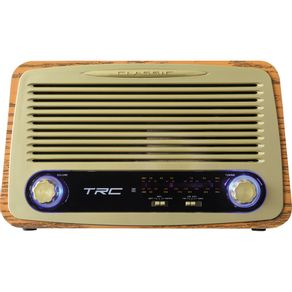 Rádio Portátil TRC AM/FM, Bluetooth, Controle Remoto Entradas USB, SD e Auxiliar Retrô TRC-212