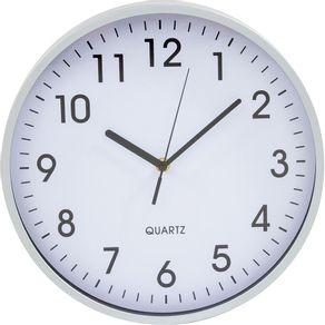 Relógio 30cm Redondo Grande 17837 Yazi Branco/Prata