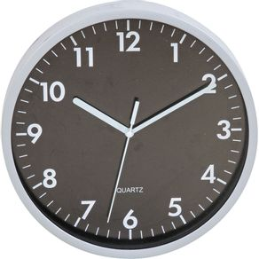 Relógio 25cm Redondo Grande 17835 Yazi Preto/Prata