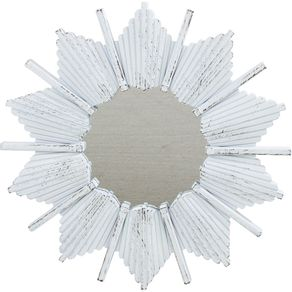 Espelho Decorativo 39,5cm Sol Stella Cazza Branco/Dourado