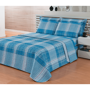 Jogo-de-Cama-Casal-4-Pecas-Microfibra-Andreza-Joop-Xadrez-Azul