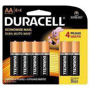 Pilha Alcalina Duracell AA Leve 12 Pague 8
