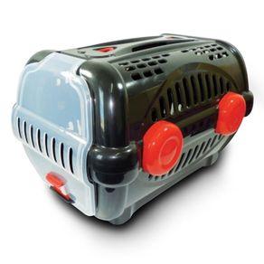 Caixa de Transporte Furacão Pet Plástica nº1 Luxo 0535 Preta/Vermelha