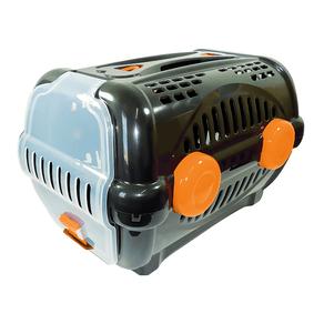 Caixa de Transporte Furacão Pet Plástica nº1 Luxo 0793 Preta/Laranja