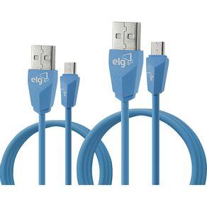 Cabo Micro USB com 2 Peças 1m/2m ELG Azul