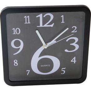 Relógio 24cm Quadrado Cazza Jogo de Números Preto