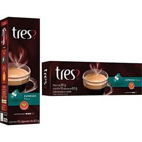 Cápsula de Café Tres com 10 Unidades de 8g Espresso Descafeinado