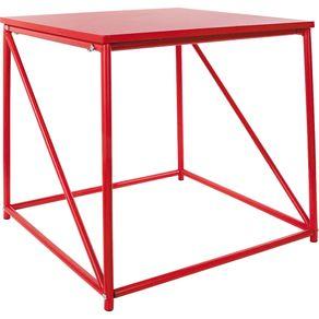 Mesa de Canto 50x45cm Quadrada Cazza Vermelha