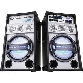 Conjunto 2 Caixas Amplificadas MP3 FM Bluetooth Microfone 300WRMS NKS Excellence PK3000