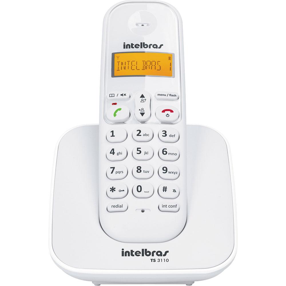 e64395cca Telefone sem Fio com Identificador TS3110 Intelbras - Branco - Casa ...