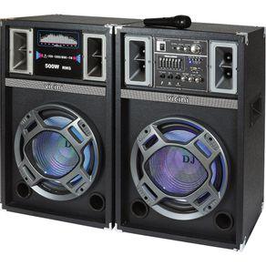 Conjunto 2 Caixas Acústicas MP3 FM Bluetooth Microfone 500WRMS USB e SD Vicini VC-7500