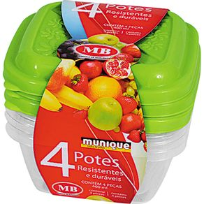 Conjunto 4 Potes Quadrado 400ml Munique MB Sortido