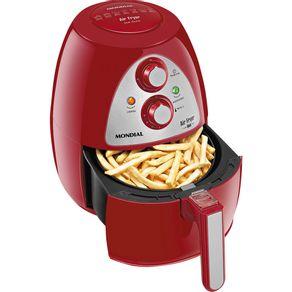 Fritadeira-sem-Oleo-Mondial-com-Timer-Air-Fryer-Family-Inox-Vermelha-127V