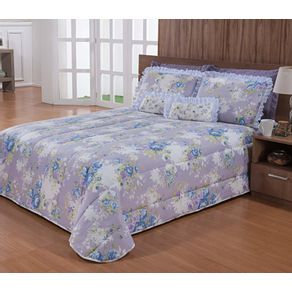Kit-Michella-Casal-7-Pecas-Microfibra-Andreza-Estella-Floral-Azul