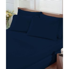 Lencol-Queen-com-Elastico-Malha-Portallar-Azul-Marinho