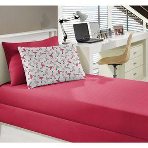 Jogo-de-Cama-Infantil-2-Pecas-Malha-Portallar-Flamingo-Rosa