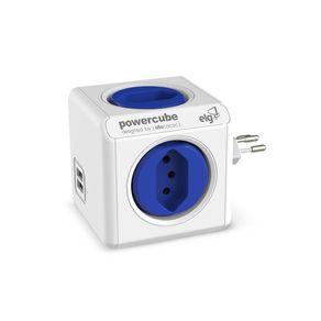 Caregador-de-Parede-ELG-4-Tomadas-e-2-Entradas-USB-Power-Cube-PWC-R4U-Branco-e-Azul