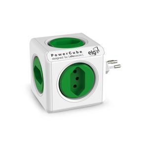 Caregador-de-Parede-ELG-5-Tomadas-Power-Cube-PWC-R5-Branco-e-Verde
