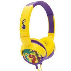 Fone-de-Ouvido-com-Alca-Kids-Dino-OEX-HP300-Amarelo-e-Roxo