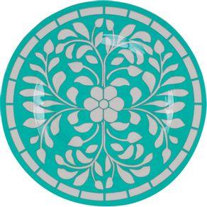Prato-de-Melamina-Sobremesa-22cm-Flor-Verde-