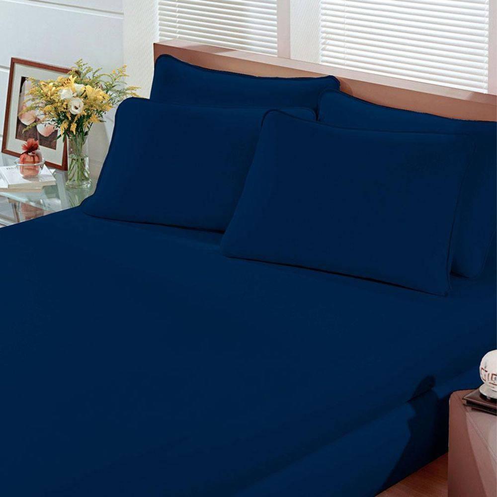 b481a929008 Lençol Casal com Elástico Malha Portallar Liso Azul Marinho - Casa e ...