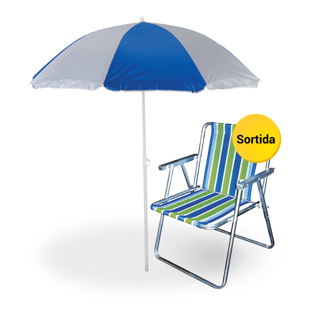 Kit Praia Básico - Cadeira de Praia + Guarda Sol - Casa e Video 122ff2a2c8