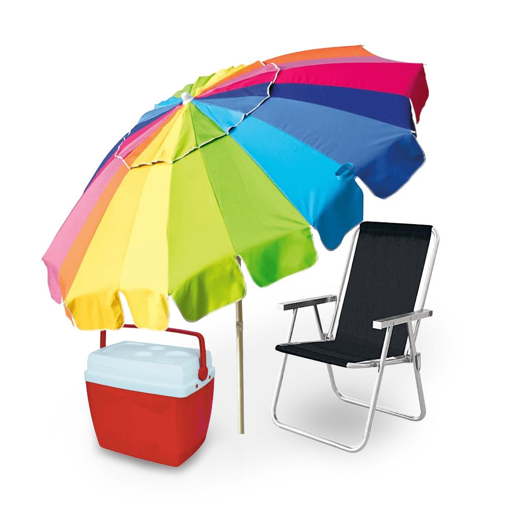 Kit Praia Conforto - Cadeira de Praia Alumínio + Guarda Sol 220cm + Caixa  Térmica 26l eff9afeeeb