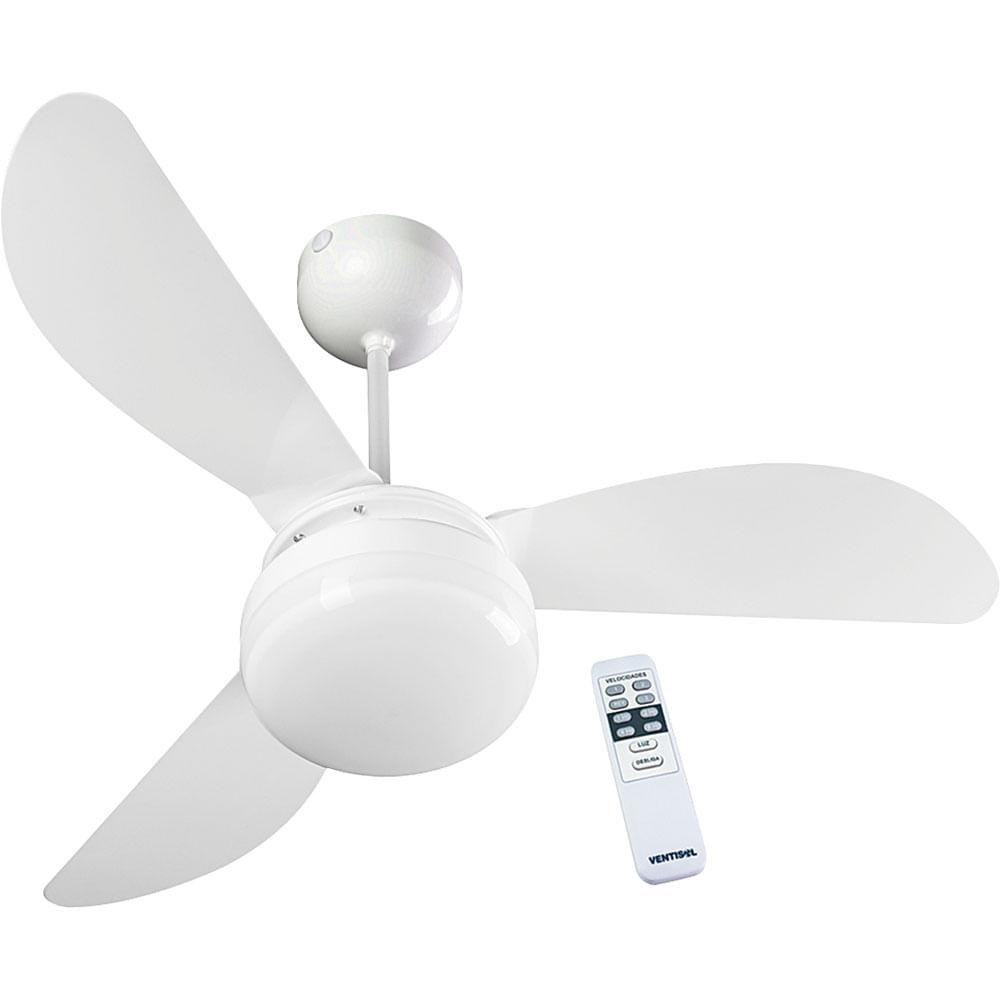 6a028cc55 Ventilador de Teto 3 Pás Ventisol Fênix Globo Controle Remoto Branco ...