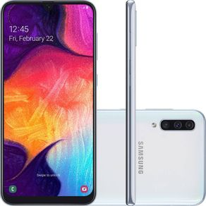 Smartphone-Samsung-Galaxy-A50-A505G-64GB-Dual-Chip-Tela-6.4-4G-Wi-Fi-Camera-Tripla-25MP-8MP-5MP-Branco