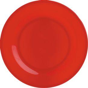 Prato-de-Melamina-Raso-25cm-Vermelho