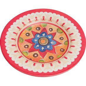 Prato-de-Melamina-Sobremesa-22-3cm-Mandala-Vermelho-1568981