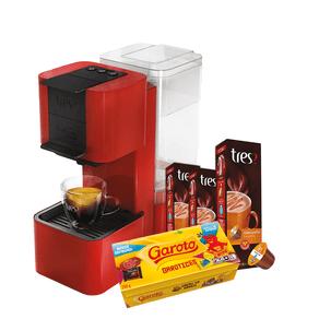 Kit-Cafeteira-Expresso-Capsula-Tres-Pop-Plus---Capsula-Tres-com-10-Unidades-de-10.5g-Chocolatto-Caramello---Caixa-de-Bombom-Sortido-Garoto-250g
