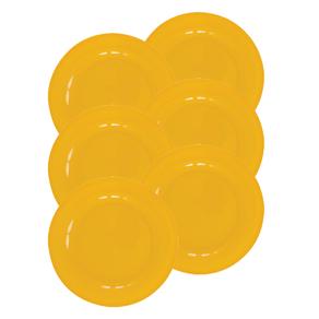 Kit-6-Pratos-de-Melamina-Raso-25cm-Liso-Amarelo